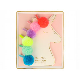 Meri Meri 6 Hair Clips POMPOM UNICORN