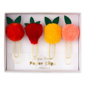 Meri Meri 4 XL Paper Clips FRUIT Pompoms