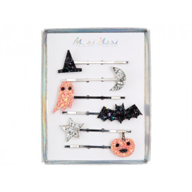 Meri Meri 6 Hair Pins GLITTERY HALLOWEEN ICONS