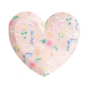 Meri Meri Large Party Plates Hearts WILDFLOWERS