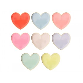 Meri Meri 8 Large Party Plates HEARTS pastel
