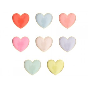 Meri Meri 8 Small Party Plates HEARTS pastel