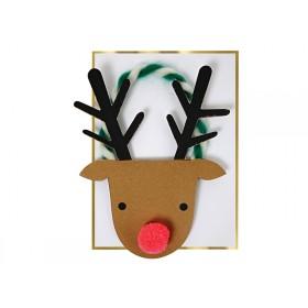 Meri Meri Christmas Card REINDEER HEAD