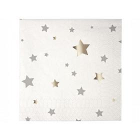 Meri Meri Small Napkins STARS Silver Confetti