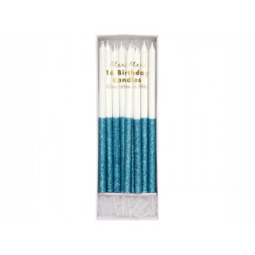 Meri Meri 16 Glitter Candles BLUE