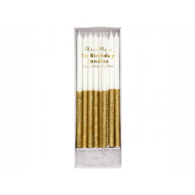 Meri Meri 16 Glitter Candles GOLD