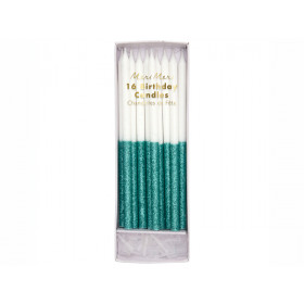 Meri Meri 16 Glitter Candles GREEN