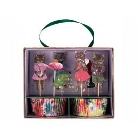 Meri Meri 24 Cupcake Set FLOWERS & CATS