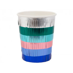 Meri Meri 8 Party Cups METALLIC FRINGE