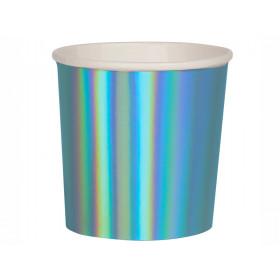 Meri Meri 8 Tumbler Party Cups HOLOGRAPHIC BLUE