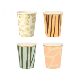 Meri Meri 8 Party Cups SAFARI ANIMAL