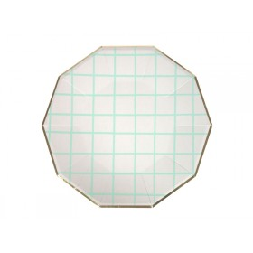 Meri Meri Large Party Plates GRID mint