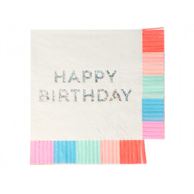 Meri Meri 16 Small Napkins HAPPY BIRTHDAY Fringe