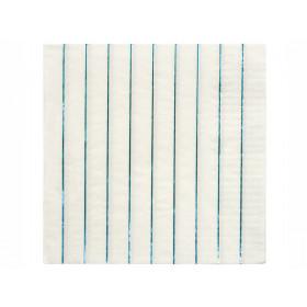 Meri Meri 16 Large Napkins HOLOGRAPHIC BLUE stripes