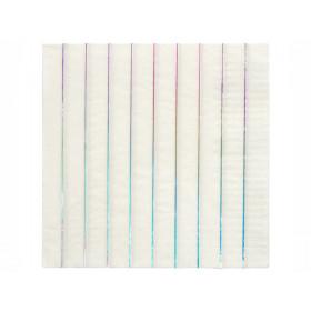 Meri Meri 16 Large Napkins HOLOGRAPHIC SILVER stripes