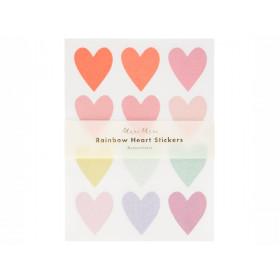 Meri Meri 120 Glitter Stickers HEARTS pastel
