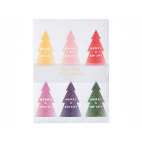 Meri Meri 60 Glitter Stickers CHRISTMAS TREES Ombre