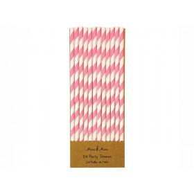 Meri Meri 24 Paper Straws PINK & WHITE
