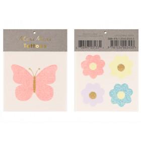 Meri Meri 2 Small Tattoos BUTTERFLY & FLOWERS