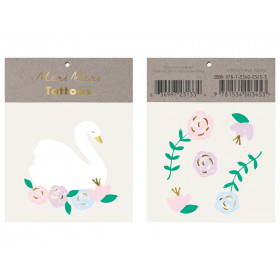 Meri Meri 2 Small Tattoos FLORAL SWAN