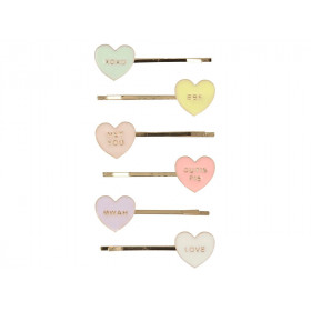 Meri Meri 6 Hair Slides LOVE HEARTS