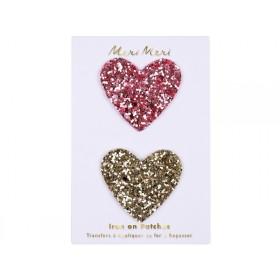 Meri Meri Iron On Patches GLITTER HEARTS