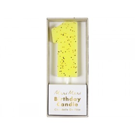 Meri Meri Birthday Candle 1 yellow glitter