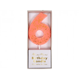 Meri Meri Birthday Candle 6 peach glitter