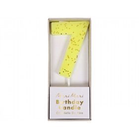 Meri Meri Birthday Candle 7 yellow glitter