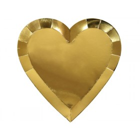 Meri Meri Large Party Plates Hearts gold