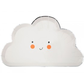 Meri Meri 8 Large Party Plates HAPPY CLOUD