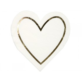 Meri Meri Small Napkins Gold Outline Hearts