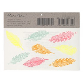 Meri Meri Tattoos Feather gold & neon
