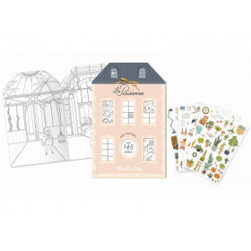 Moulin Roty Colouring Book with Stickers LES PARISIENNES