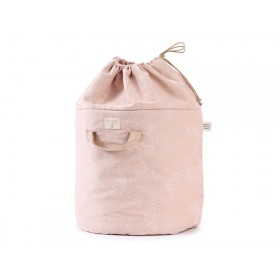 Nobodinoz Bamboo Toy Bag White Bubble MISTY PINK large