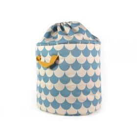 Nobodinoz Baobab Toy Bag SCALES BLUE large