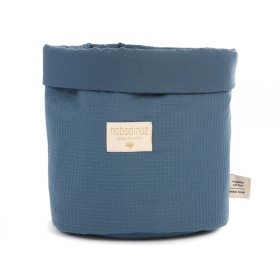 Nobodinoz Panda Storage Basket Honeycomb NIGHT BLUE medium