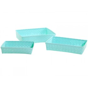 Overbeck and Friends baskets rectangular pastel turquoise