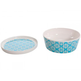 Overbeck and Friends melamine bowl with cover Jamie turquoise