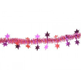 X-mas garland with stars in red-fuchsia