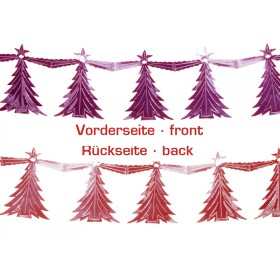 X-mas garland with christmas trees in red-fuchsia