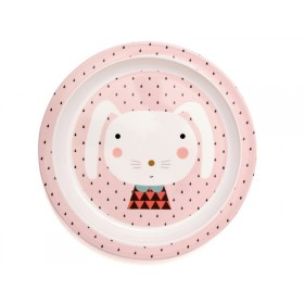 Petit Monkey melamine plate rabbit drops with border