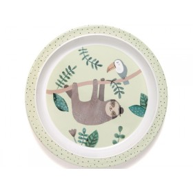 Petit Monkey Melamine Plate with rim SLOTH green