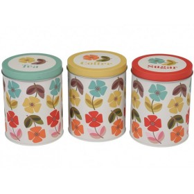 Biscuit coffee tea sugar tin set poppy
