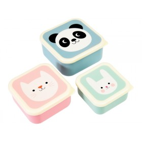 Rex London 3 Snack Boxes PANDA, CAT & BUNNY