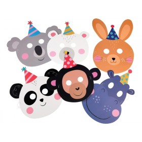 Rex London PARTY ANIMAL FACE MASKS (SET OF 6)