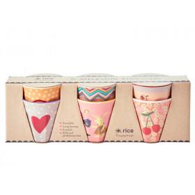 RICE 6 Small Melamine Cups BUNNY pink