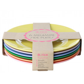 RICE 6 Melamine Side Plates LET'S SUMMER Colors