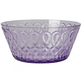 RICE acrylic bowl swirly embossed LAVENDER LARGE