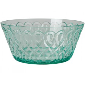 RICE acrylic bowl swirly embossed PASTEL GREEN LARGE